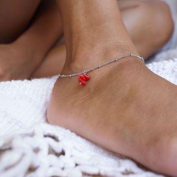 Imagem de coral ankle bracelet | silver