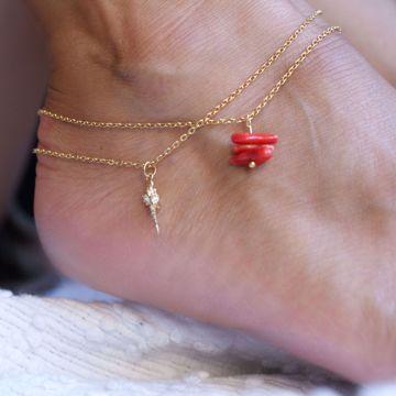 Imagem de conch ankle bracelet | golden