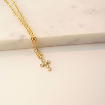 Picture of Shiny cross necklace | golden
