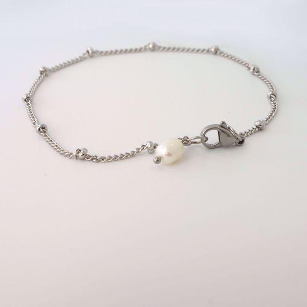 Imagem de Beads pearl bracelet | silver