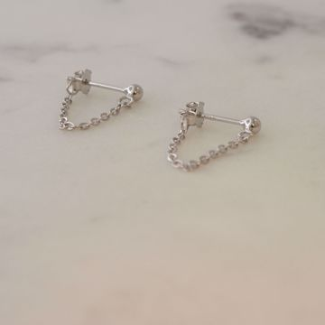 Picture of Minimal chain earrings 3cm | silver