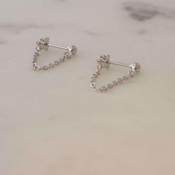 Imagem de Minimal chain earrings 3cm   silver