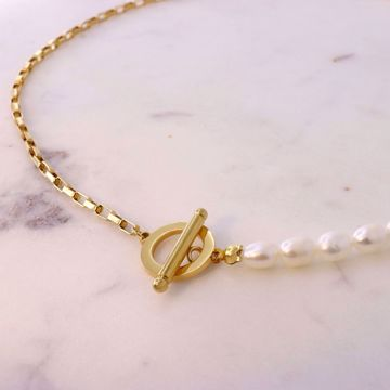 Imagem de Squares and pearls necklace | Golden