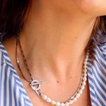 Picture of Squares and pearls necklace | Silver