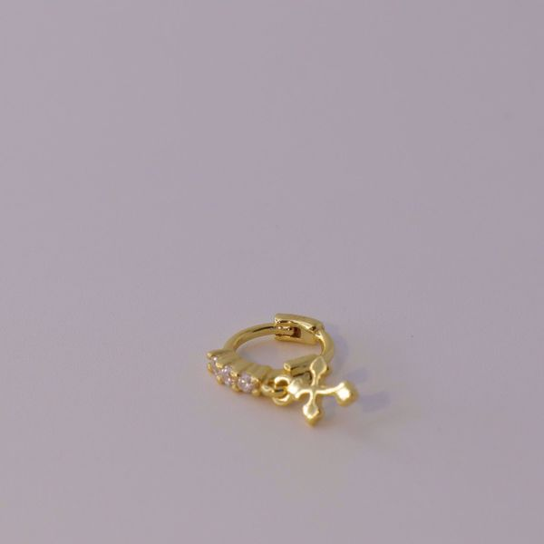 Picture of shine and cross golden huggie earring