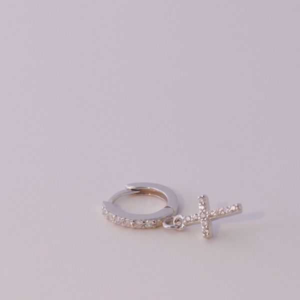Picture of shine and cross silver huggie earring