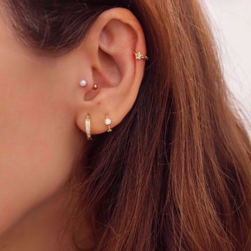 Picture of Mini star huggie earring | golden