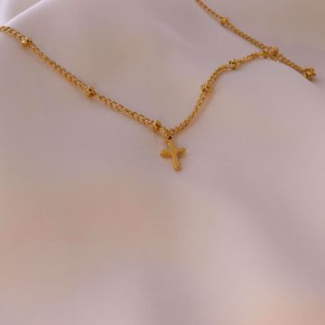 Picture of Mini cross necklace | golden
