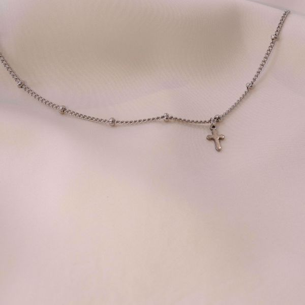 Imagem de Mini cross necklace | Silver