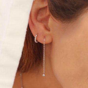 Imagem de Beatriz beads huggie earring | silver