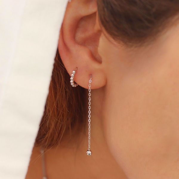 Picture of Beatriz beads huggie earring | silver