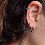 Picture of Green flower huggie earring | silver