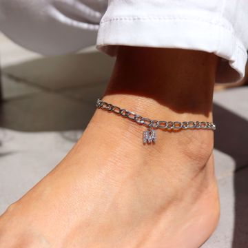 Picture of Letter ankle bracelet | silver