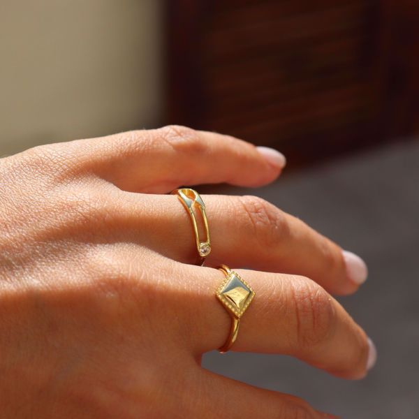 Imagem de Safety pin ring   golden