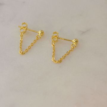 Imagem de MINIMAL CHAIN EARRINGS 3cm | Golden