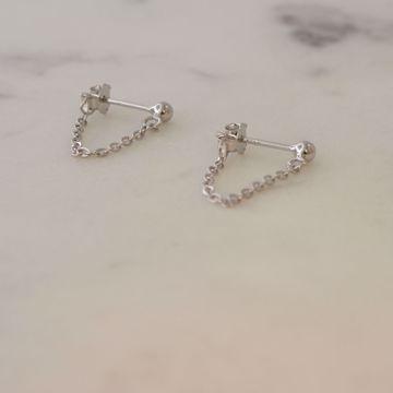 Imagem de MINIMAL CHAIN EARRINGS 3cm | Silver